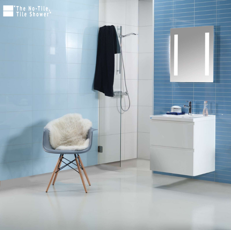 Sky blue laminated shower and bathroom wall panels | Innovate Building Solutions | #HighGloss #GlossyPanels #NoTileTileShower #NoTile