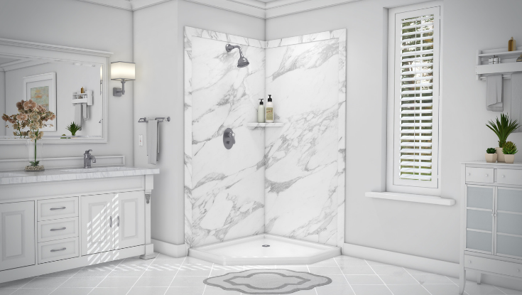 Traditional Calcutta White Faux Granite wall panels | Innovate Building Solutions | #WallPanels #BathroomWallPanels #BathroomTrends #DIYShowerPanels