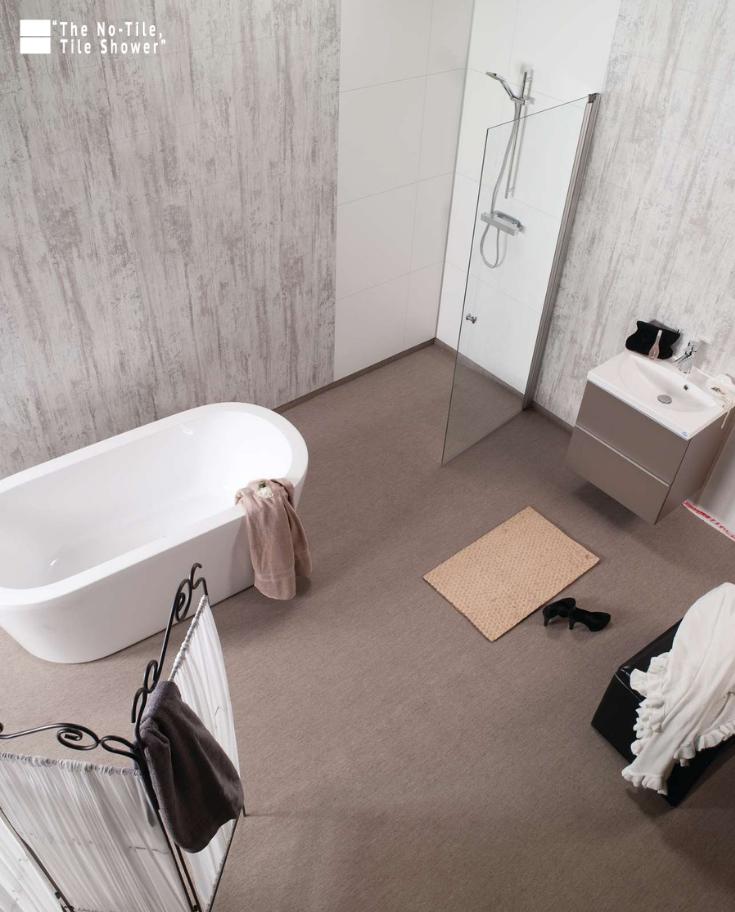 shabby chic bathroom and shower wall panels   Innovate Building Solutions   #BathroomPanels #BathroomRemodel #NoTileTileShower #Laminatepanels