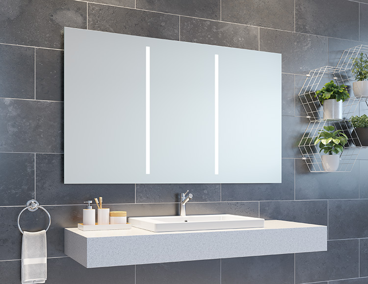 A radiant LED lighted bath vanity mirror with a defogger | Innovate Building Solutions