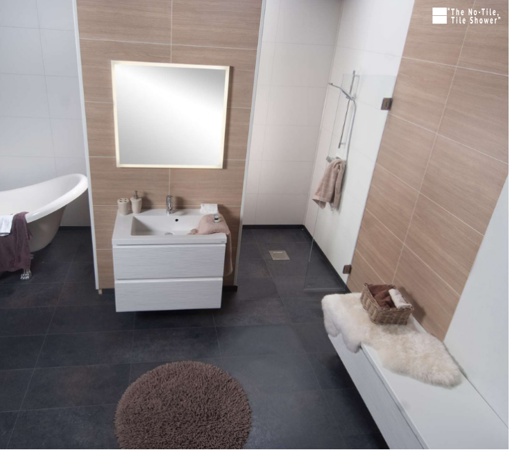 One level wet room with laminated waterproof shower wall panels | Innovate Building Solutions