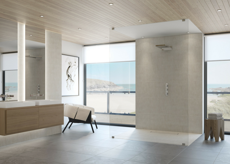 One level contemporary bathroom designs | Innovate Building Solutions | #OneLevelShower #RollInShower #BathroomRemodeling