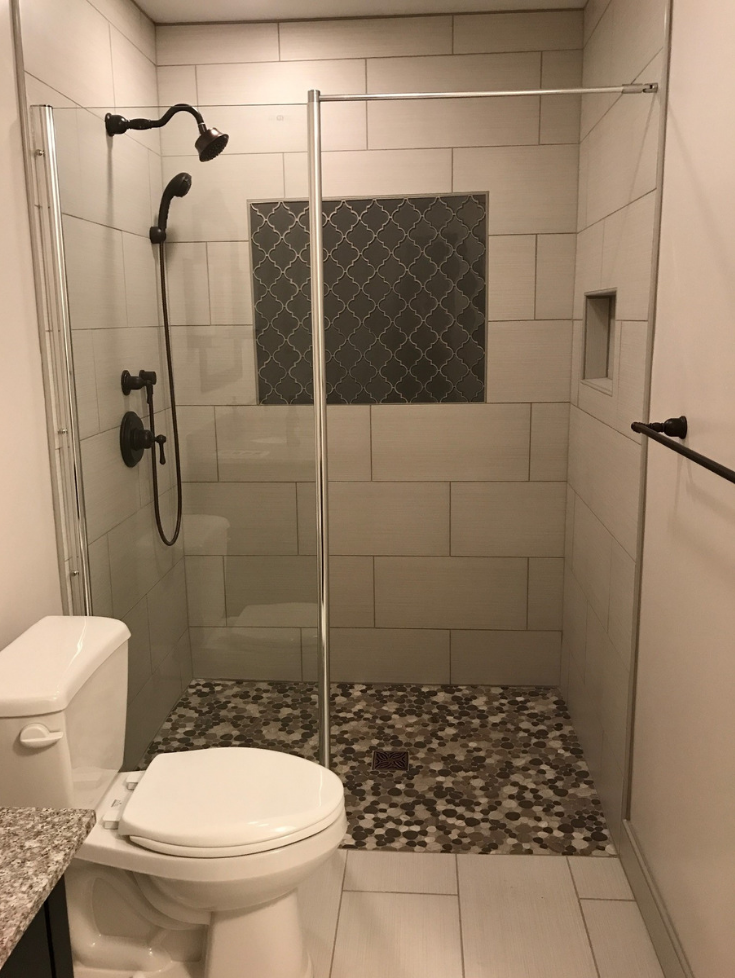 Open concept wet room style bathroom | Innovate Building Solutions | #WetRoom #RollinShower #ShowerRemodel