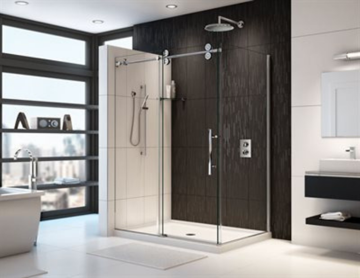 FlexPan acrylic corner shower pan | Innovate Building Solutions | #AcrylicCorner #ShowerPan #CornerShowerBase