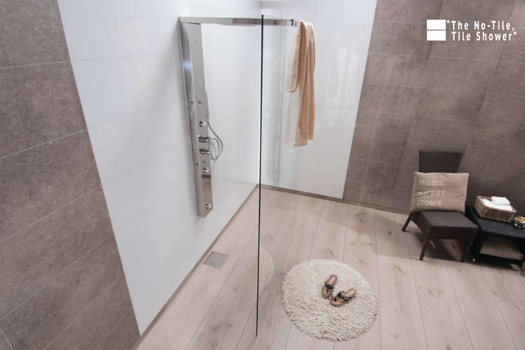 Laminated wall panels in a shower and in the bathroom surrounds | Innovate Building Solutions | #LaminateWallPanels #NoTileTileShower #TileShower #BathroomSurrounds