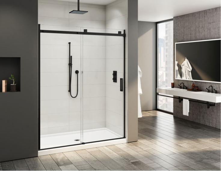 Matte black shower enclosure | Innovate Building Solutions | #ShowerEnclosure #MatteBlackShower #BathroomRemodelingIdeas #BlackWallPanels