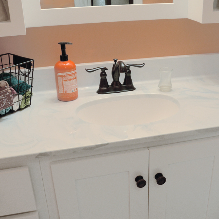 One piece cultured marble vanity top in a modern farmhouse bathroom | Innovate Building Solutions | #VanityTop #ModerFarmhouse #CulturedMarble