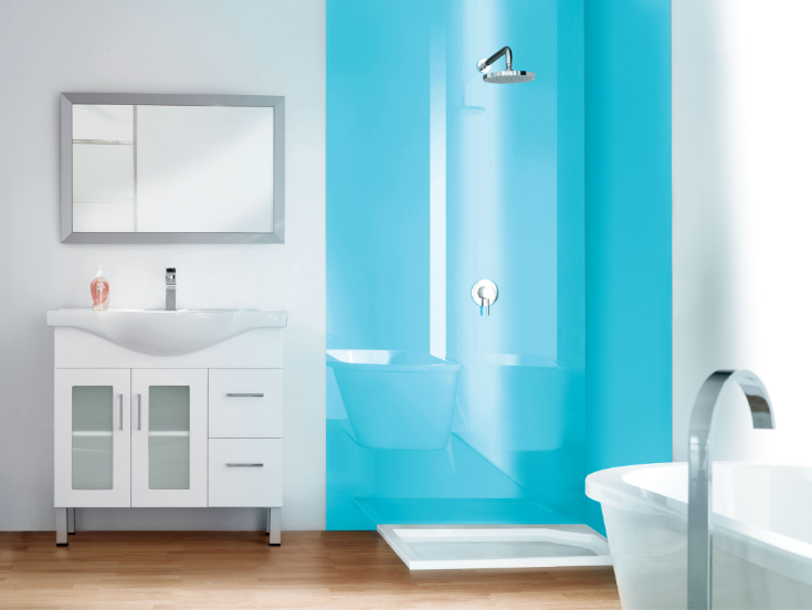 Ultra high gloss blue wall panels | Innovate Building Solutions | #BathroomRemodeling #HighGlossPanels #LustoliteWalls