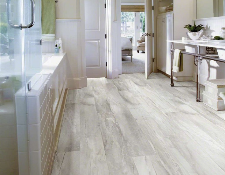 Whitewashed laminate bathroom flooring www.attagirlsays.com | Innovate Building Solutions | #AttaGirlSays #LaminatePanels #bathroomWallPanels #RusticBathroom