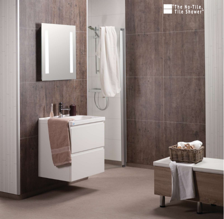 large format faux tile laminated wall panels | Innovate Building Solutions | #LargeTile #NoTileShower #GroutFreeTile