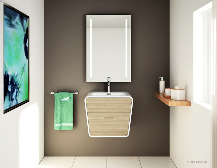 see large format tiles with a floating vanity cabinet | Innovate Building Solutions | #VanityCabinet #FloatingVanity #LargeTiles #SmallBathroomDesign