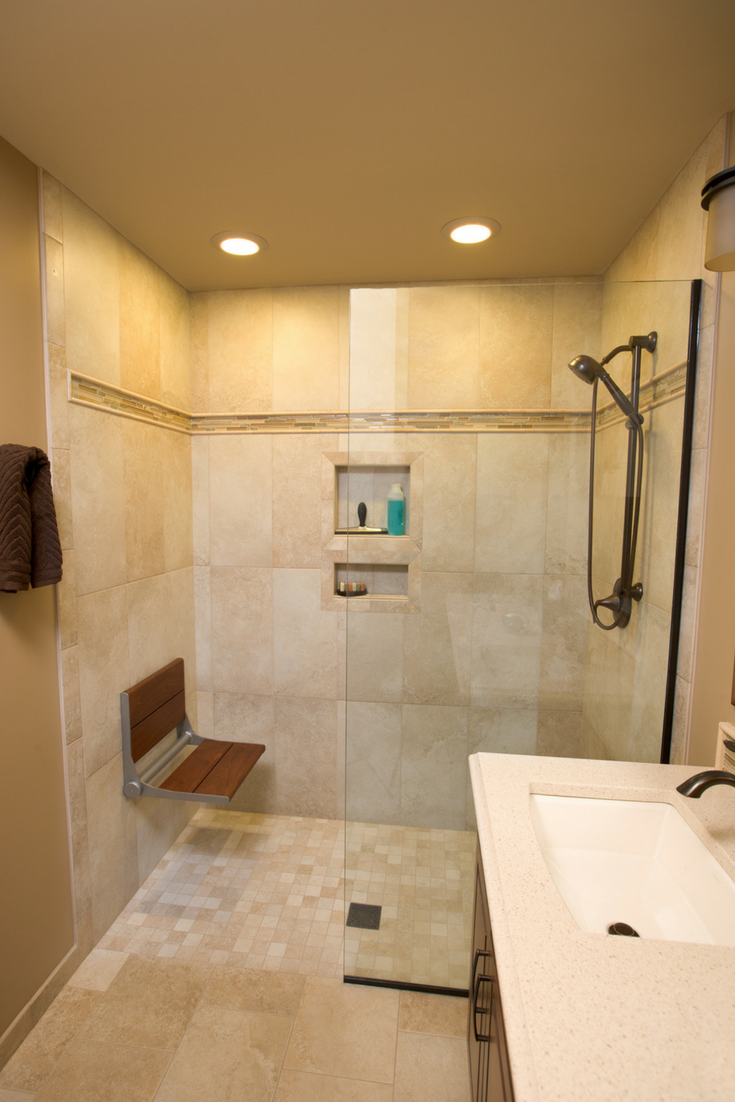 A wet room design in a 5 foot by 8 foot bathroom | Innovate Building Solutions | #WetRoomDesign #RollInShower #HandicapAccessibleShower