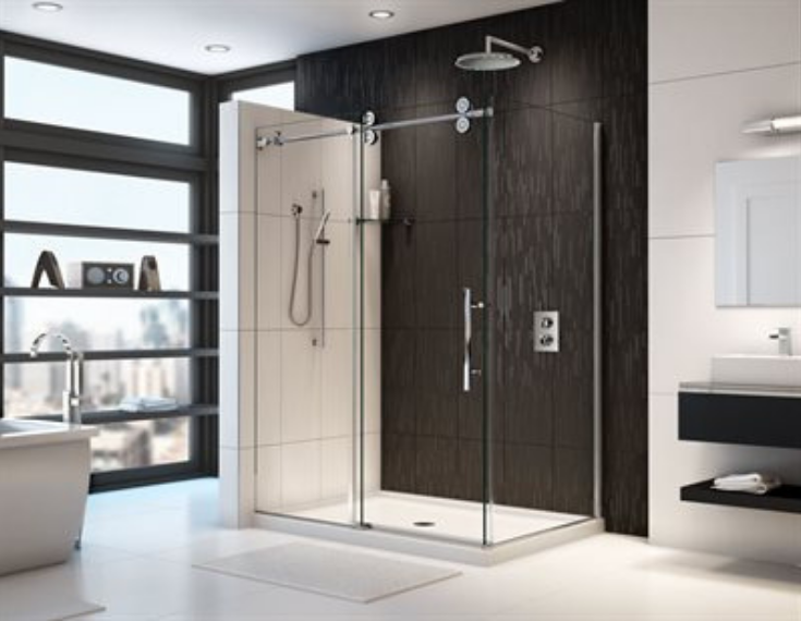 Contemporary acrylic shower pan | Innovate Building Solutions | #ContemporaryShower #AcyrlicShowerBase #BathroomShowerBase