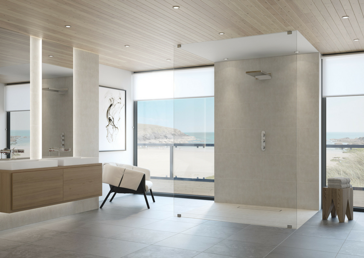 Contemporary one level wet room system | Innovate Building Solutions | #OneLevelShower #ContemporaryShower #BathroomRemodel #RollInShower