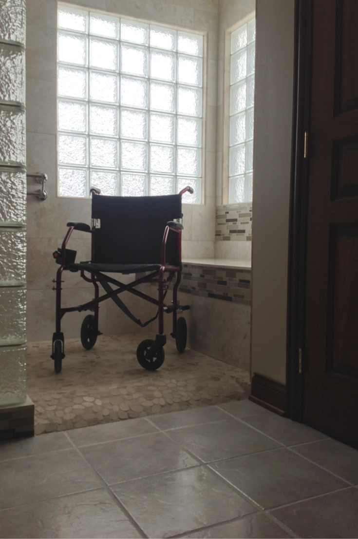 Ready for tile roll in shower for a wheelchair | Innovate Building Solutions | #RollInShower #WheelChairAccess #UniversalDesign