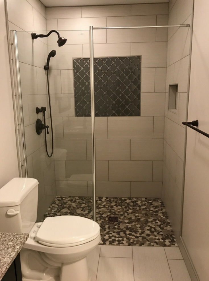 Small wet room bathroom in 5' by 8' space | innovate building solutions | #BathroomSpace #SmallBathroom #SmallShowerDesign