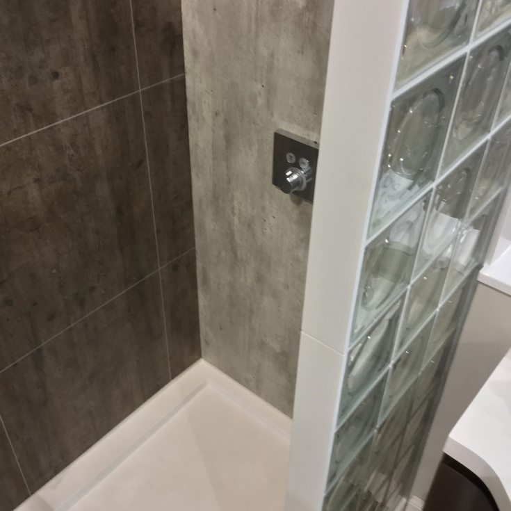 Glass blocks with laminated shower wall panels | Innovate Building Solutions | #glassblockshower #laminateshowerpanels #showerwallpanels