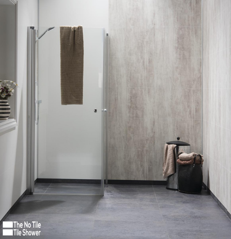 Modern Farmhouse laminate Shower Wall Panels Abbey Shale | Innovate Building Solutions | #FarmhouseDesign #LaminateWallPanels #ShowerWallPanels