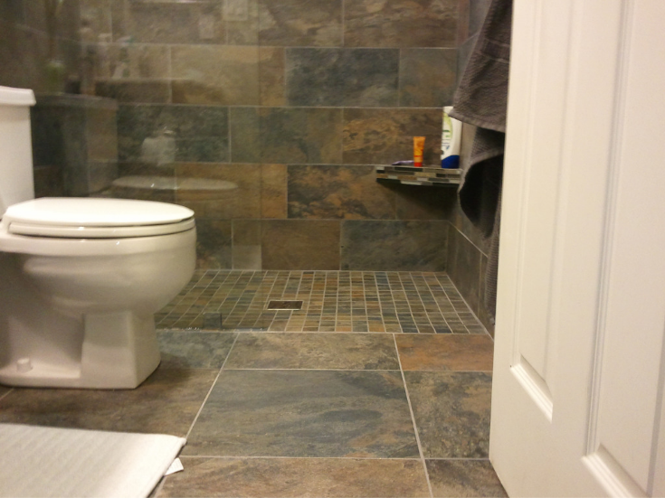 Walk in shower in a tiny 5' x 8' bathroom | Innovate Building Solutions | #Walkinshower #TinyShowerDesign #BathroomDesign