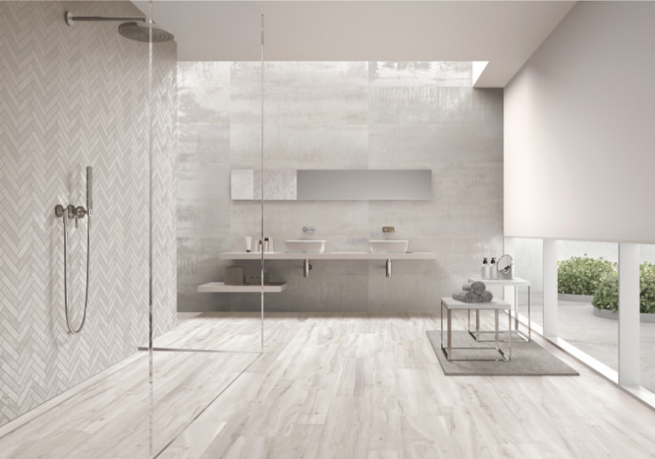 Ceramic tile you get what you want herringbone design | Innovate Building Solutions | #CeramicTile #ShowerWallPanels #TiledBathroom #TiledShower