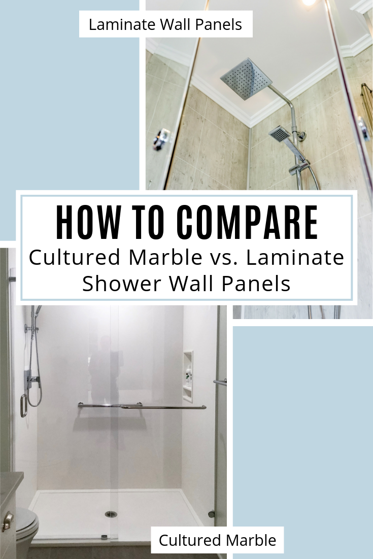 Laminate vs Cultured Marble Shower wall panels | Innovate Building Solutions | #LaminateShowerPanels #CulturedMarble #BathroomRemodeling