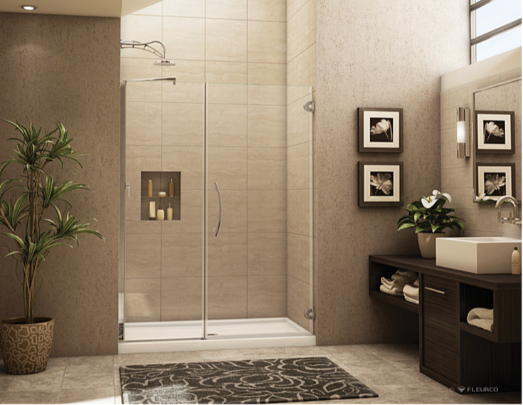 Low profile acrylic shower pan with a pivoting door | Innovate Building Solutions | #LowProfilePan #ShowerBase #AcrylicShowerPan #BathroomRemodelingTips