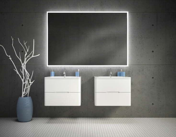 Wall hung vanities for an industrial chic bathroom exposed concrete walls | Innovate Building Solutions | #WallHungVanity #BathroomDesign #IndustrialBathroom