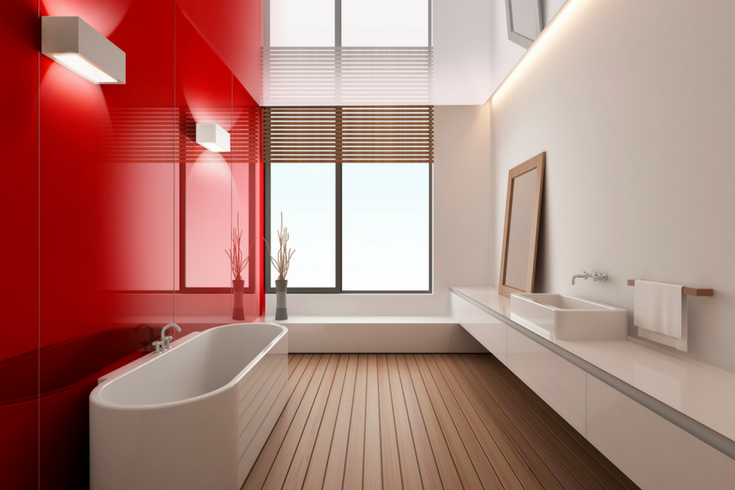 Fire engine red high gloss bathroom wall panels | Innovate Building Solutions | #FireEngineRed #RedBathroom #RedShower #HighGlossPanels