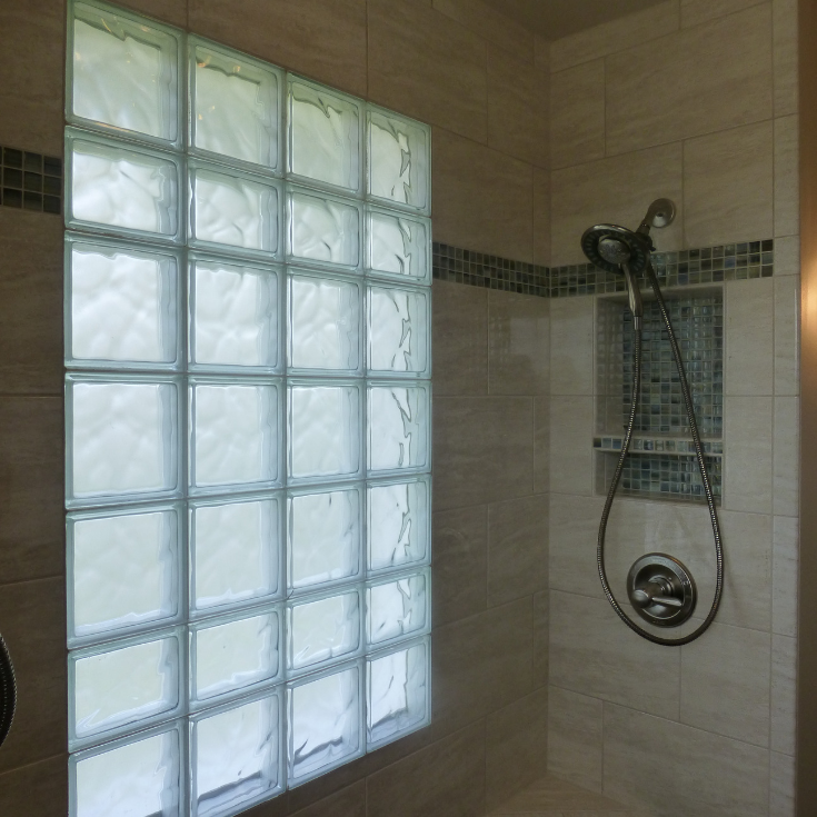 Glass block window design Columbus Ohio Installation | Innovate Building Solutions | #GlassBlockWindow #DesigningShower #BathroomShower #ShowerWindow
