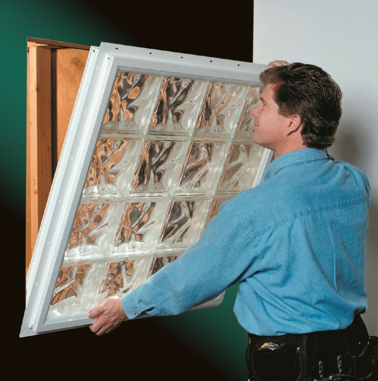 Installating a vinyl framed glass block window | Innovate Building Solutions | #InstallglassBlock #Vinylwrapglassblock #VinylWrapFrame #GlassBlock
