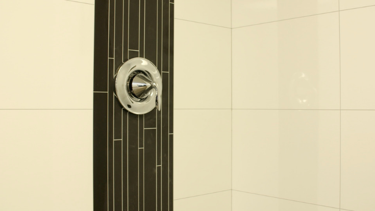 Decorative accent black vertical - White contemporary high gloss with joints | Innovate Building Solutions | #DecorativeAccent #BathroomRemodeling #BlackVertical #ShowerDesign