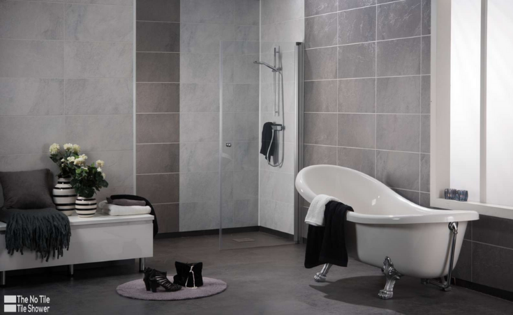 Laminate 3D textured slate shower wall panels | Innovate Building Solutions | #LaminatePanels #NoGroutPanels #EasytoCleanShower #BathroomRemodel