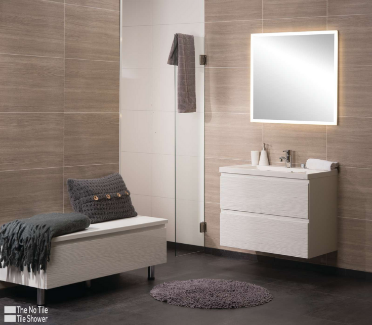 Laminate large format faux tile sizes in laminated wall panels | Innovate Building Solutions | #LaminatePanels #NoGrout #TileShower #BathroomRemodeling