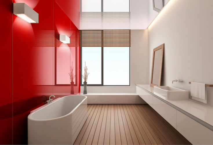 contemporary high gloss shower wall bath and shower wall system in fire engine red | Innovate Building Solutions | #Highglosspanels #RedBathroom #RedRoom #bathroomremodeling