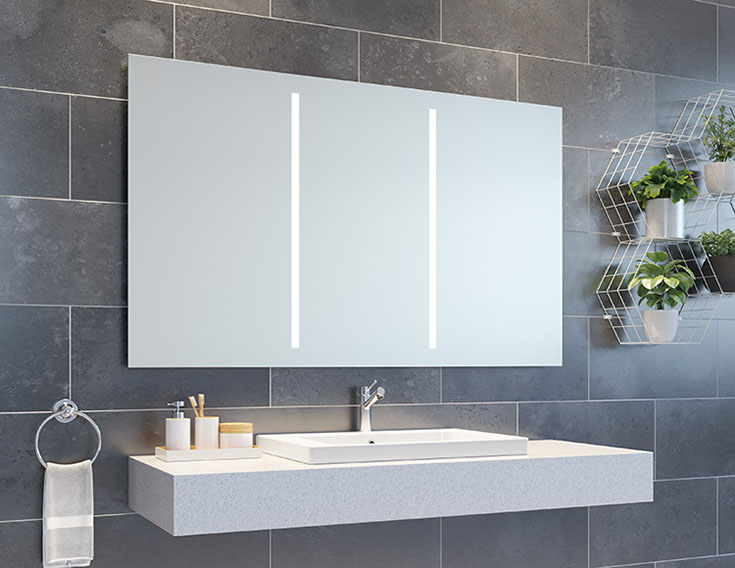 LED mirrored medicine cabinet | Innovate Building Solutions | #LEDMirror #MedicineCabinet #BathroomMirrors