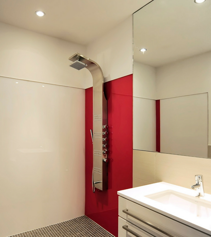 Red rouge colored high gloss wall panels like back painted glass | Innovate Building Solutions | #HighGlossPanel #ShowerWallPanels #BathroomRemodel #RedBathroom