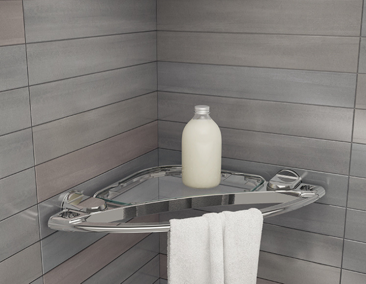 Contemporary shower accessories a corner soap dish | Innovate Building Solutions | #BathroomRemodeling #ShowerWallPanels #soupholder