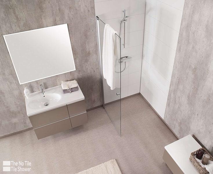 Laminate Wall Panels Cracked cement bath wall panels   Innovate Building Solutions   #BathroomRemodel #TileShower #LaminateWallPane