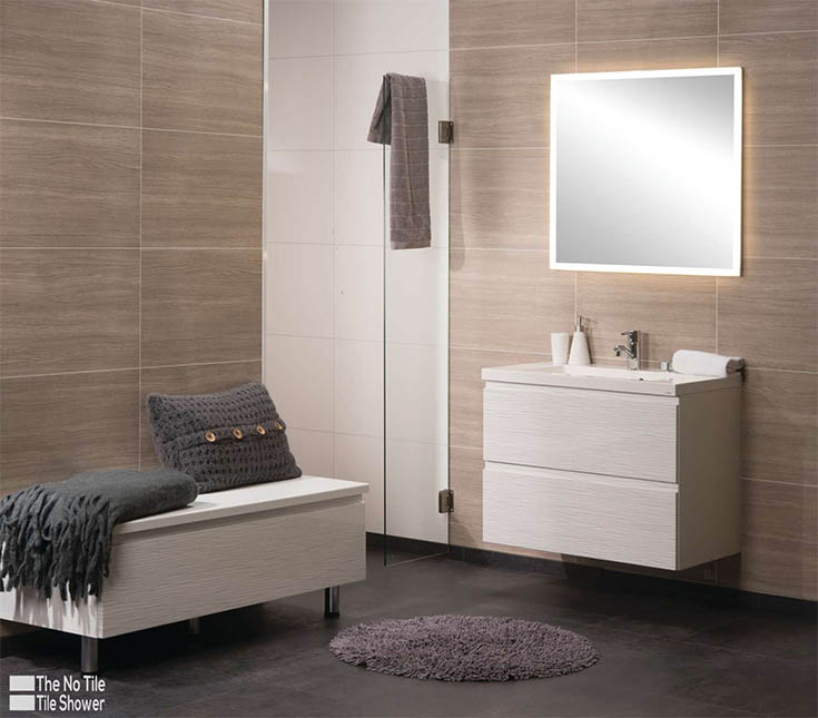 Laminate wall panels in a luxury bathroom | Innovate Building Solutions | #LaminateWallPanels #ShowerWallPanels #GroutFreePanels #BathroomRemodeling