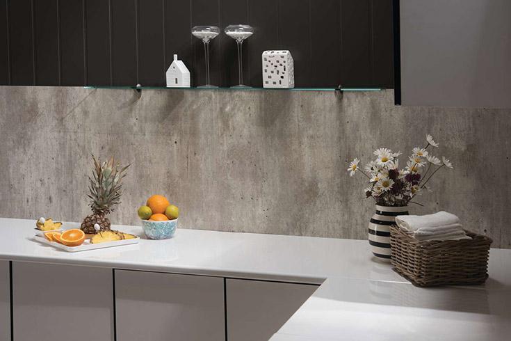 Laminated cracked cement kitchen backsplash panel | Innovate Building Solutions | #Backsplash #KitchenBacksplash #KitchenRemodel