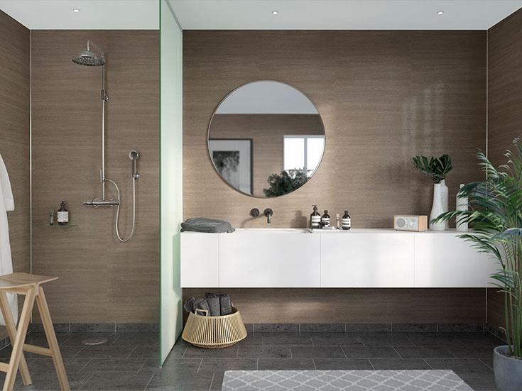 Laminated oak style bathroom wall panels   Innovate Building Solutions   #LaminatePanels #BathroomWallPanels #FauxTile #TileShower