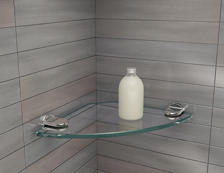 Contemporary glass corner shelf | Innovate Building Solutions | #CornerShelf #BathroomRemodel #SoupHolder