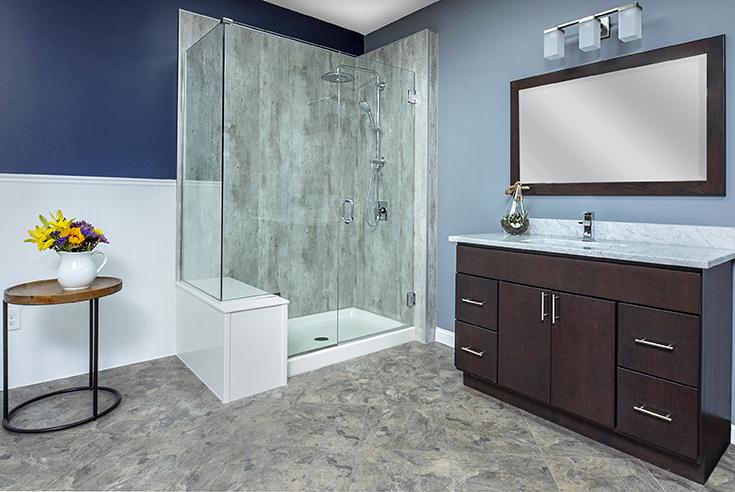 Cracked cement laminate wall panels simple bath columbus | Innovate Building Solutions | Simple Bath | #BathroomRemodel #SimpleBath #ColumbusOhio
