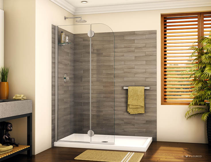 Flex pan acrylic base for a walk in shower | Innovate Building Solutions | #AcrylicBase #ShowerBase #InstallShowerSystem