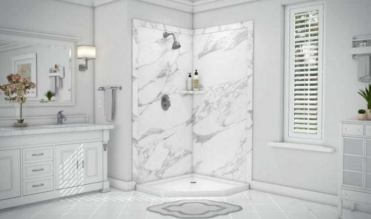 PVC Back Composite Shower Panels | Innovate Building Solutions | #PVCPanels #ShowerPanels #BathroomRemodeling #DIYShowerPanels