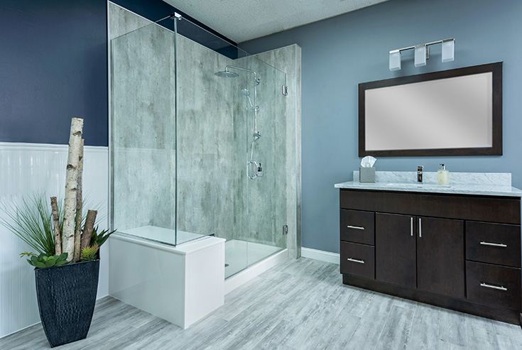 Cracked cement DIY laminate wall panels - simple bath | Innovate building Solutions | #BathroomRemodel #Laminatewallpanels #CrackedCement #DIYShowerInstall