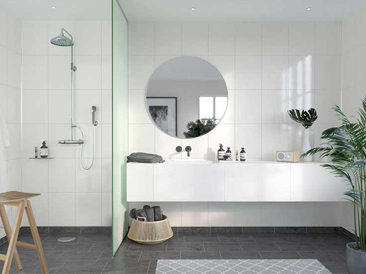 Fibo Transitionalist White high gloss 12 x 16-bath and shower panels | Innovate Building Solutions | #HighGlossPanels #WhiteBathroom #ShowerWallPanels #DIYBathroomRemodel