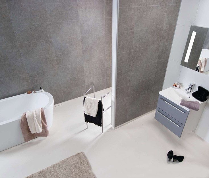 Fibo laminate Concrete Grey 24 x 12-shower panels   Innovate Building Solutions   #Laminatewallpanels #FIBOUS #FiboWallpanels #BathroomRemodeling