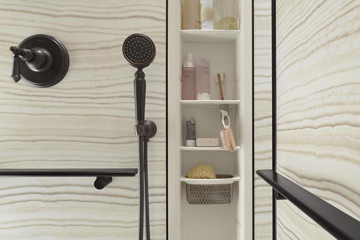 Koher Choreograph shower locker for more storage | Innovate Building Solutions | #KohlerWallPanels #BathroomRemodel #DIYShowerRemodel