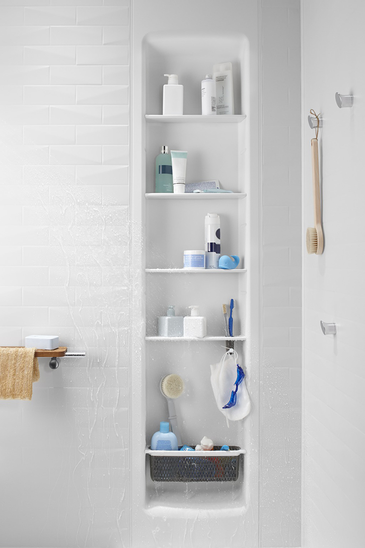 Kohler choreograph shower locker with adjustable shelves | Innovate Building Solutions | #KohlerChoreograph #ShowerAccessories #AdjustableShelves